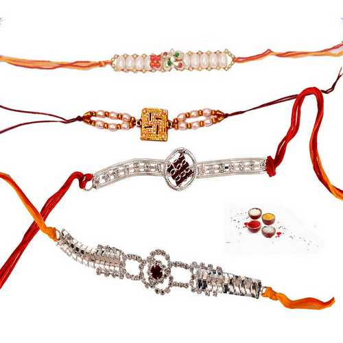 Pearl N American Diamond Rakhi Set