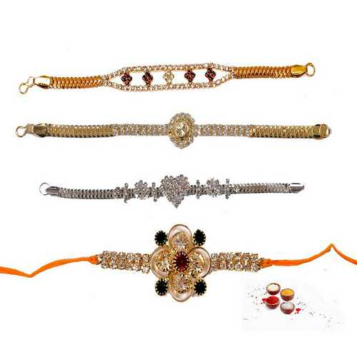 Set of 4 Jeweled n Ornamented Rakhis
