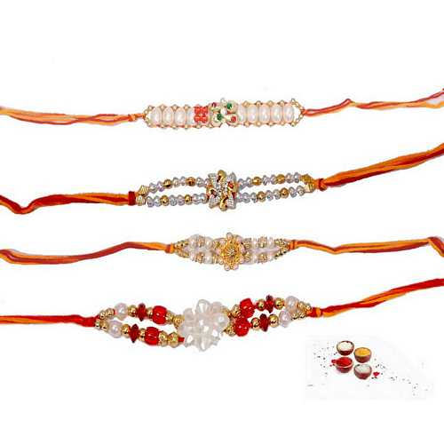 Pearl Rakhi Threads - Set of 4