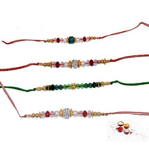 Lovely Set of 4 Beaded Rakhis