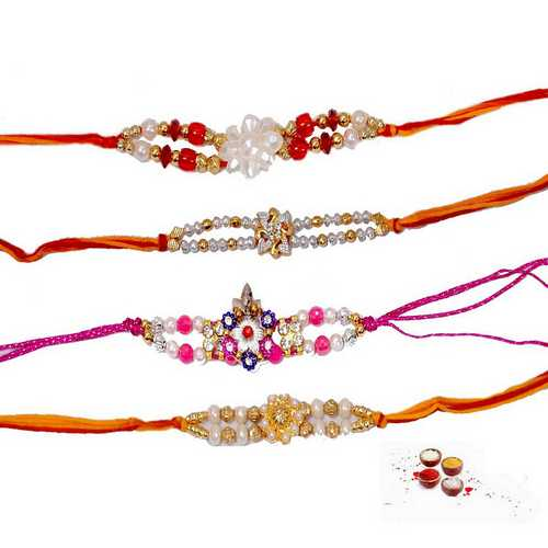 4 Auspicious Rakhis in Beads n Pearls