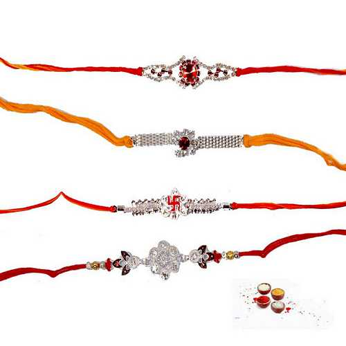 4 Auspicious Rakhi Threads in Premium Stones