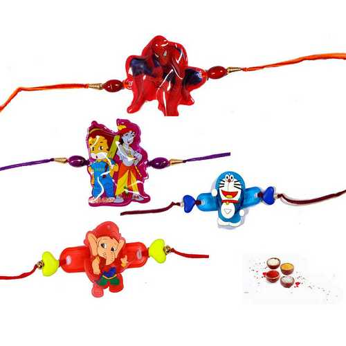 Set of 4 Cute Rakhis for Cute Brothers