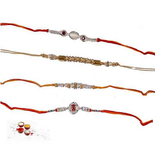 4 Jeweled Rakhi Threads