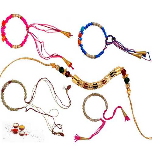 Lovely Set of 5 Beads Rakhis