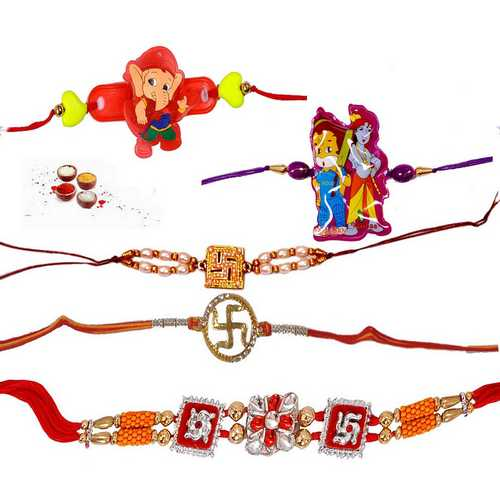 Auspicious Rakhis n Kids Rakhis - Set of 5