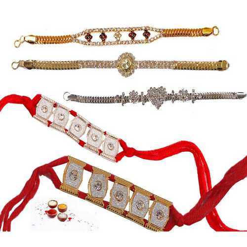 Set of 5 Bracelet Rakhis with Premium Stones