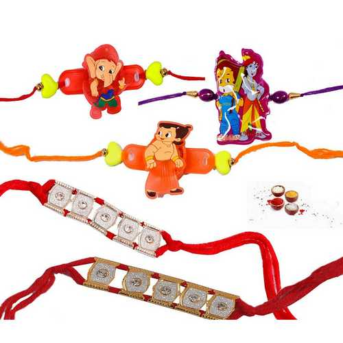 Kids Rakhis N Bracelet Rakhis - Set of 5