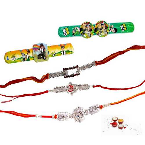Premium Stone Rakhis N Kids Rakhis - Set of 5