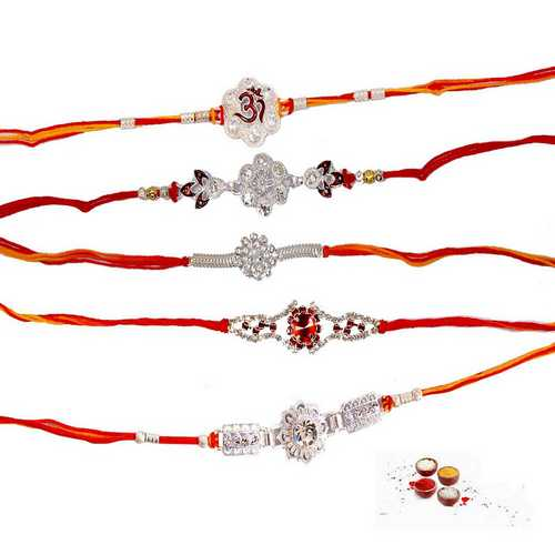 Set of 5 American Diamond Rakhis