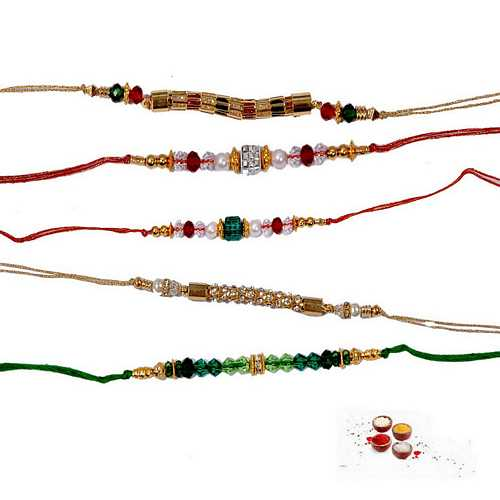 Set of 5 Multicolor Beads Rakhis