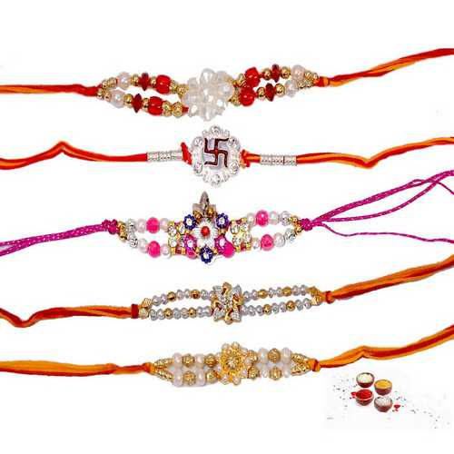 Designer Pearl n Beads Rakhi - Set of 5