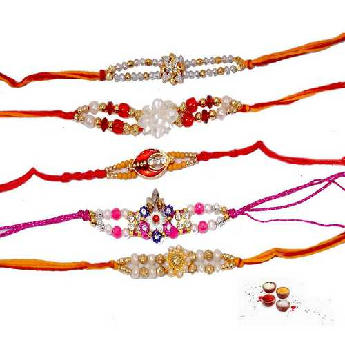 Elegant Pearls N Beads Rakhi Threads - Set of 5