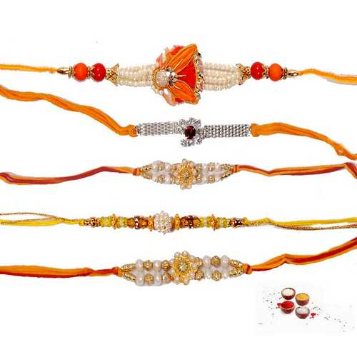 Premium Quality Designer Rakhis - Set of 5