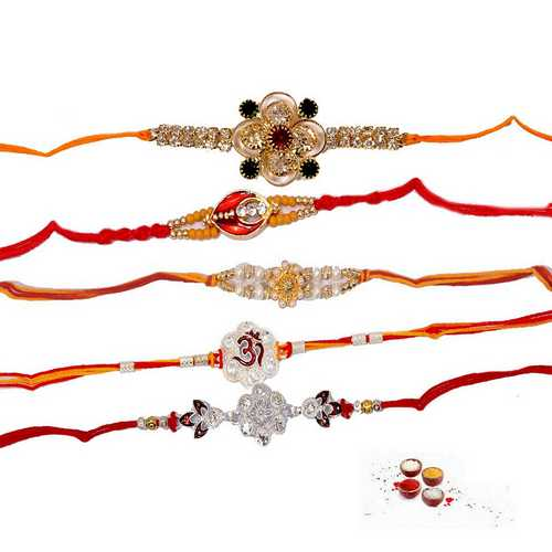 Set of 5 Jeweled Rakhis