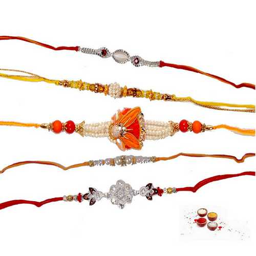 Set of 5 Stylish Rakhis in Pearls N Beads