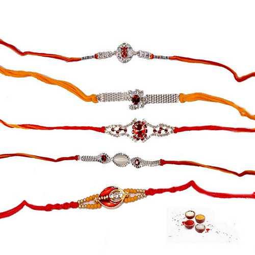 Set of 5 Silver n White Stones Fancy Rakhis