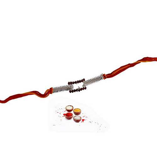 Designer Mauli Rakhi with White Stone