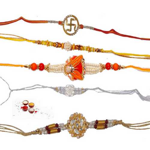 Jeweled n Pearls Rakhis - Set of 5