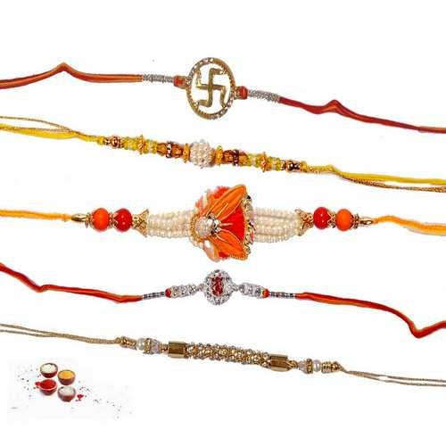 Pearls n Ornamented Rakhis - Set of 5