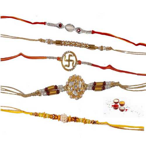 Jeweled n Ornamented Designer Rakhis - Set of 5