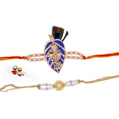 Set of 2 Designer Premium Rakhi with Pearls