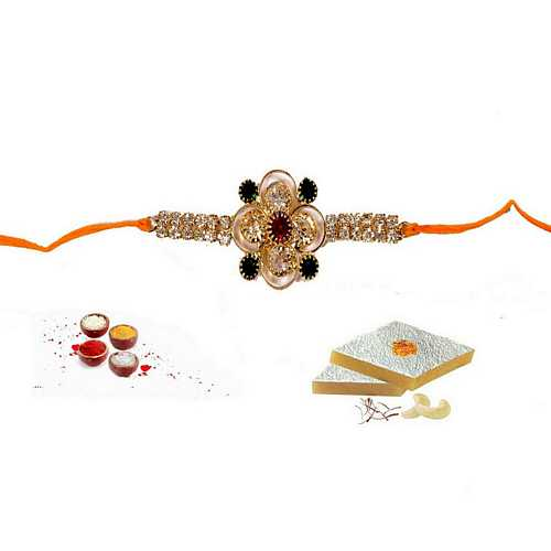 Jeweled Rakhi N Kaju Katli