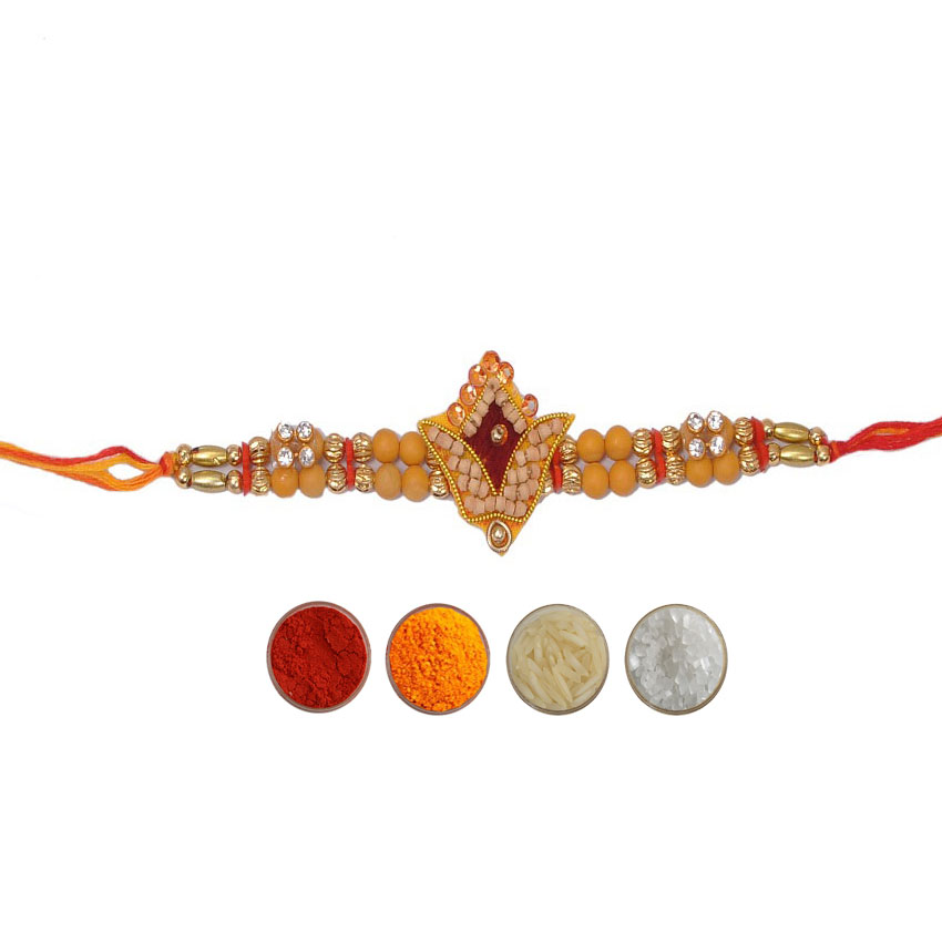 Designer Mauli Rakhi with Beads and White Stones