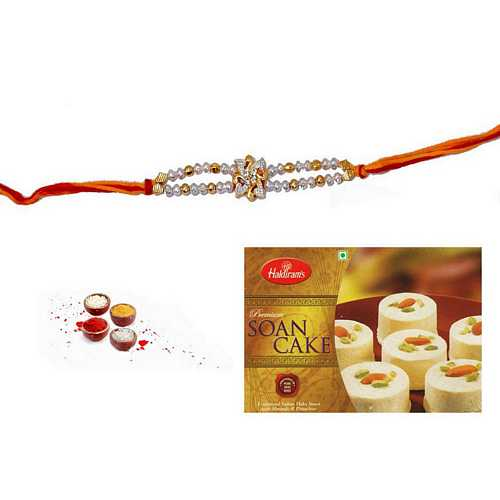 Golden N Silver Beads Rakhi with Soan Cake