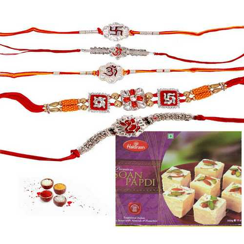 Divine Five Rakhis with Soan Papdi Treat