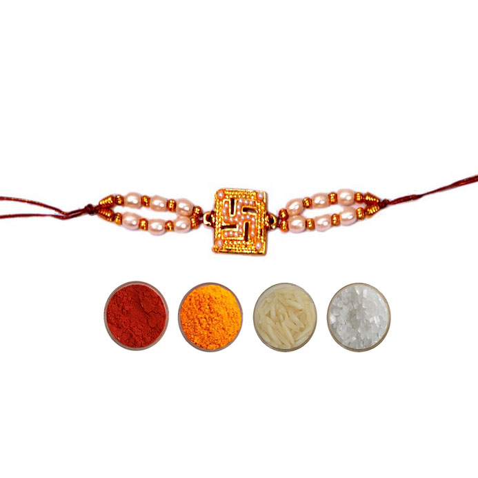 Swastika Rakhi with Pearls
