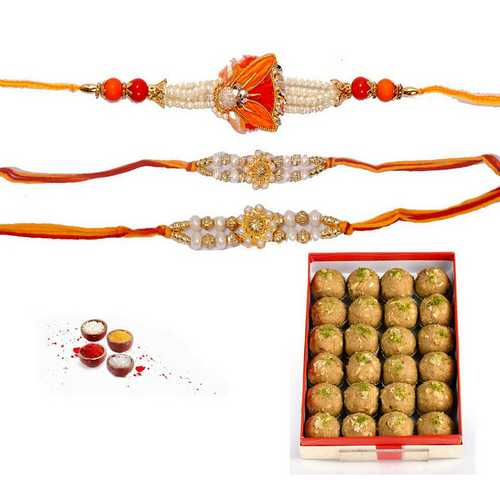 Set of 3 Pearl Rakhi n Atta Mewa Laddu
