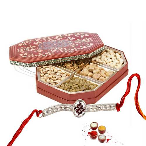 Silver Rakhi with Mixed Dry Fruits