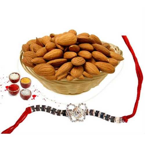 American Diamond Rakhi with Crunchy Almonds