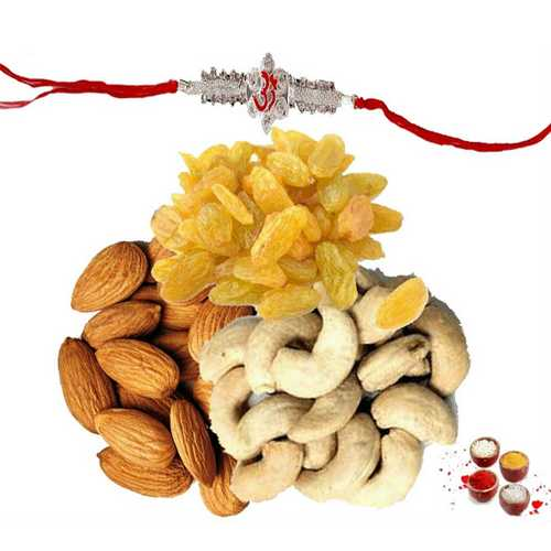 OM Rakhi with Dry Fruits