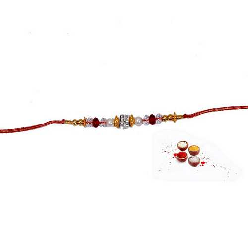 Designer Rakhi with Multicolor Beads