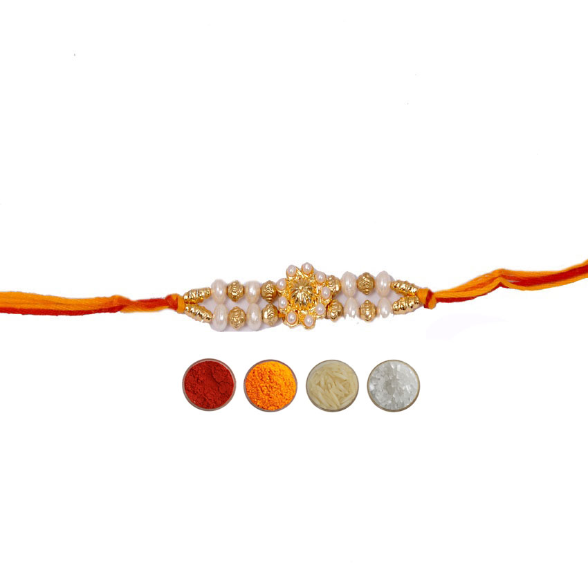 Rakhi with Golden Beads and White Pearls