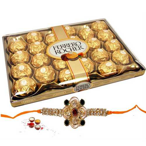 Ferrero Rocher N Jeweled Rakhi Combo