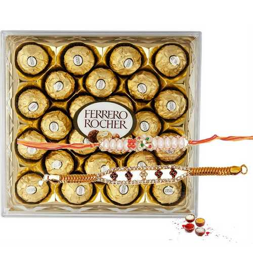 Designer Rakhi with Ferrero Delights