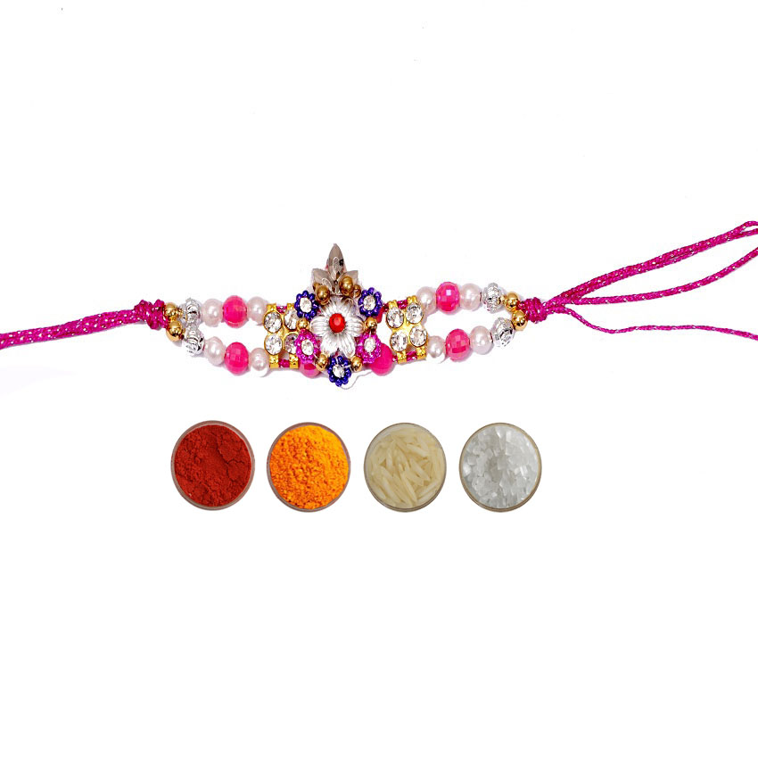 Purple Designer Rakhi with Pearls & Beads
