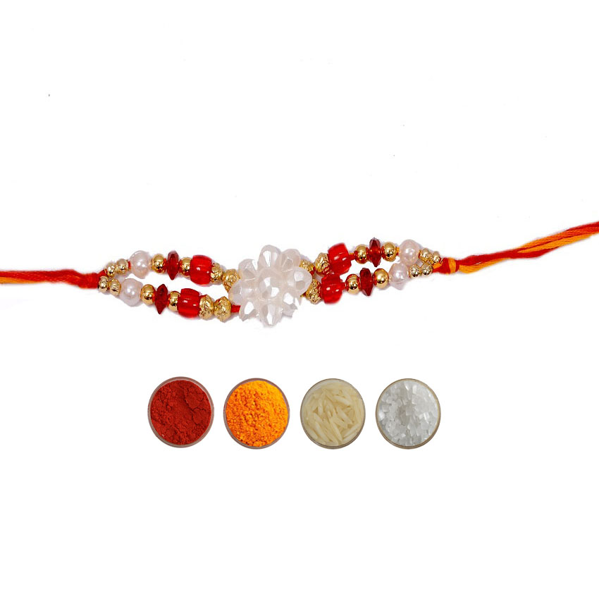 Designer Rakhi with Beads and White Pearls