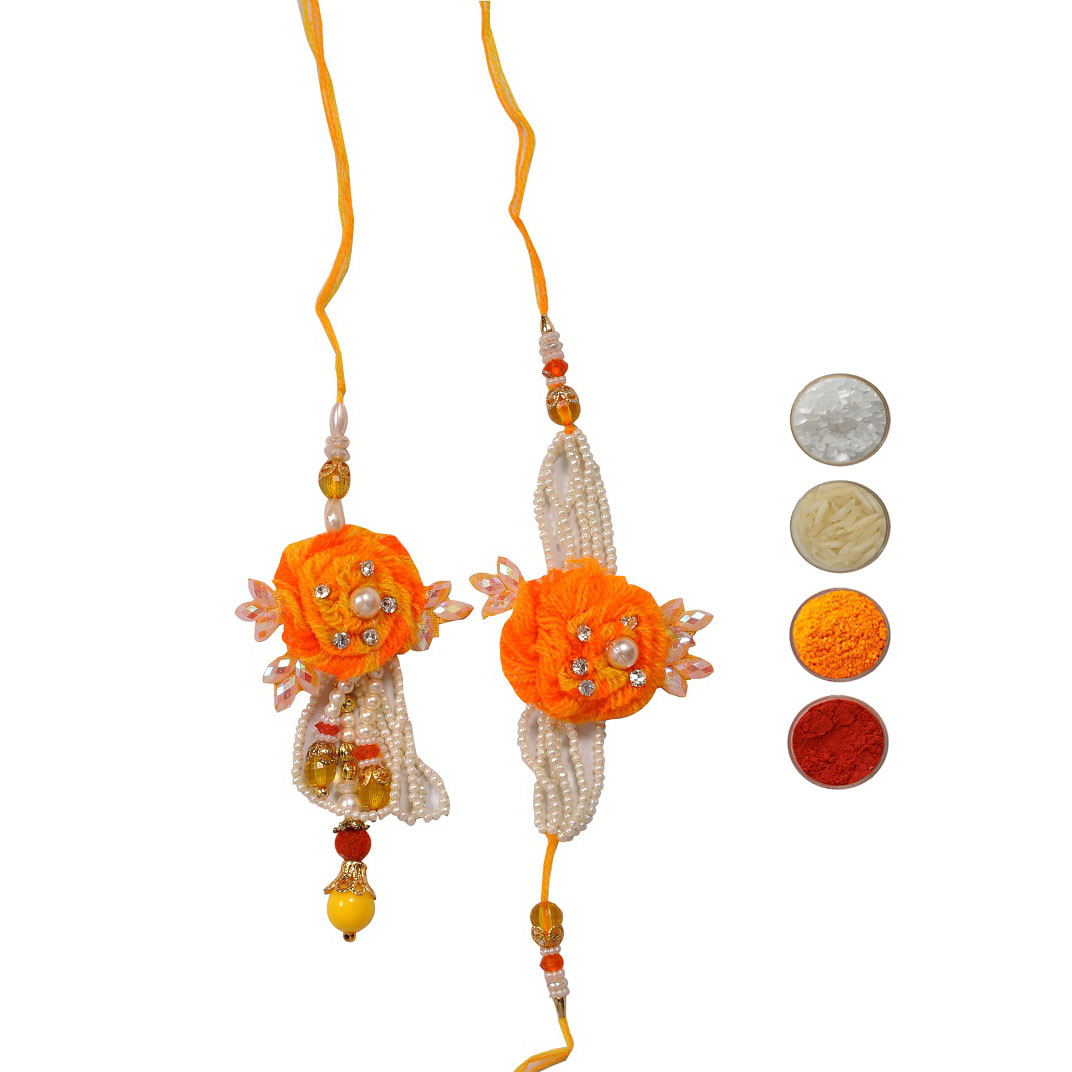 Pearl Fancy Rakhis Set for Bhaiya and Bhabhi