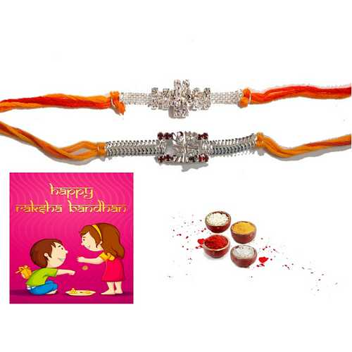 Silver Designer Rakhis Set of 2