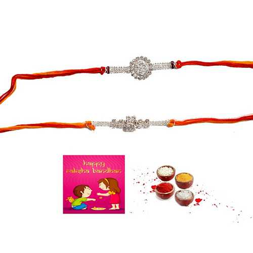Silver Aura Fancy Rakhis Set of 2