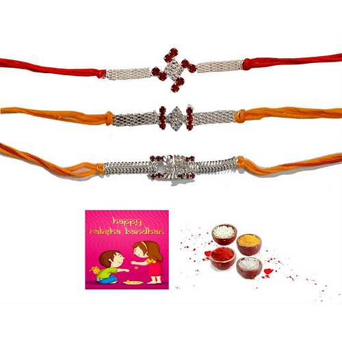 Silver Fancy Rakhis Set of 3