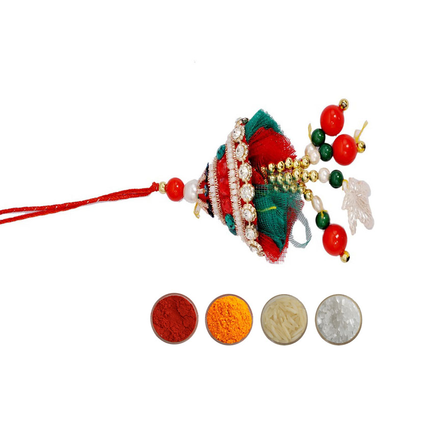Beautiful Lumba Rakhi with Pearls and Beads