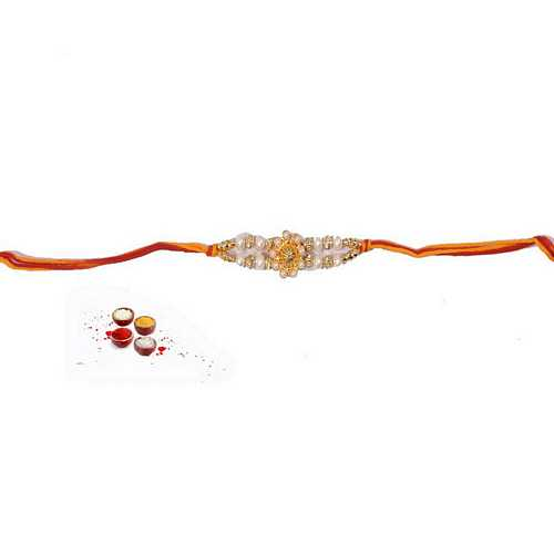 Elegant White Pearls Rakhi in Mauli
