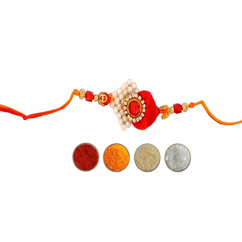 Mauli Rakhi with Pearl Beads n White Stone