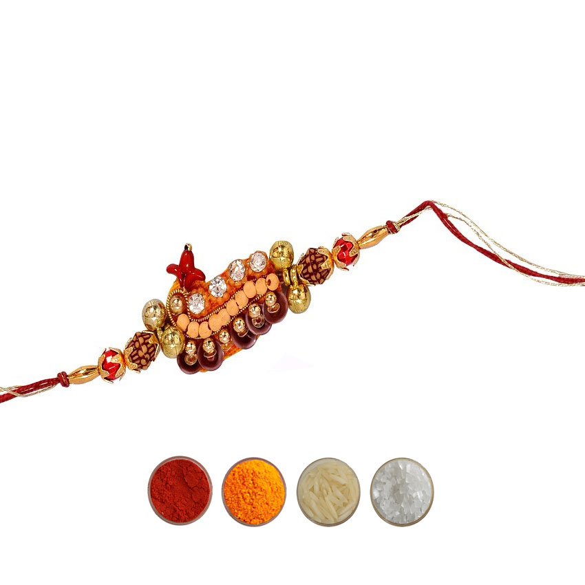 Fancy Rakhi with Beads Rudraksha n American Diamond