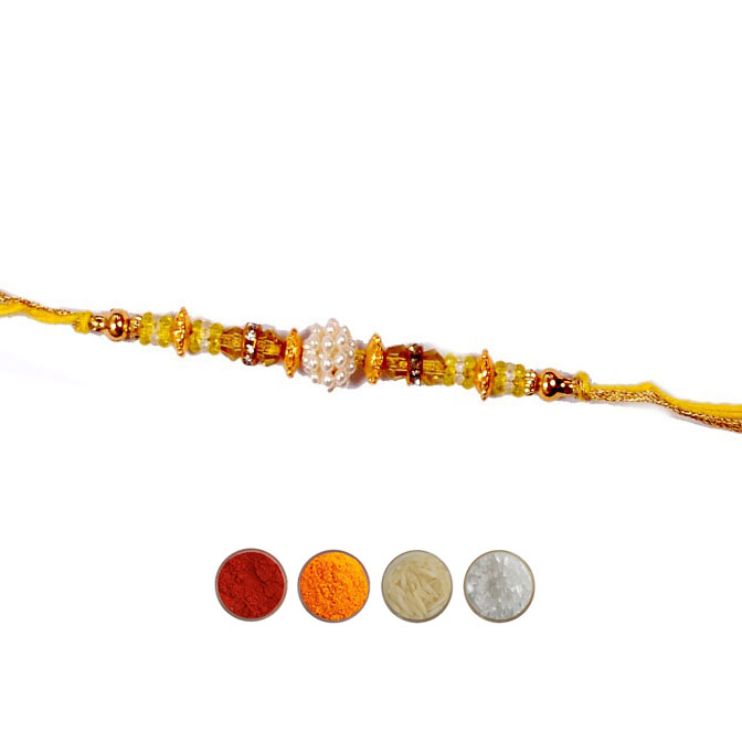 Fancy Rakhi in Yellow Thread